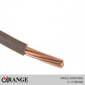 Orange Single Sheathing Wire Brown 50M