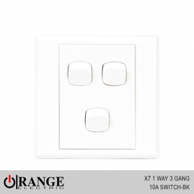 Orange X7 1 Way 3 Gang 10A Switch - BK