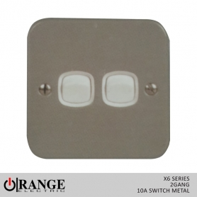 Orange X6 1 Way 2 Gang  10 A Switch Metal