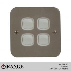 Orange X6 2 Way 4 Gang  10 A Switch Metal