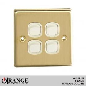 Orange 1 Way 4 Gang Ferrous Gold HL