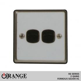 Orange 1 Way 2 Gang Ferrous Silver HL