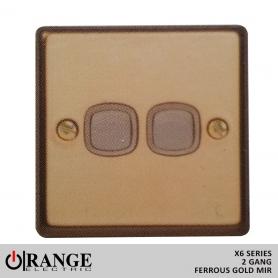 Orange 1 Way 2 Gang Switch Ferrous Gold Mir